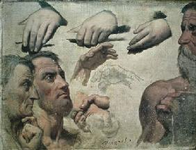 Study of Heads and Hands for the Apotheosis of Homer