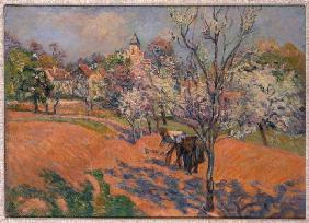 Farmers at the Bohnensäen under blossoming fruit-trees
