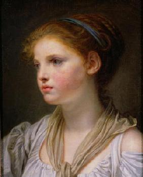 Greuze, Jean Baptiste : Girl with a Blue Ribbon (o...