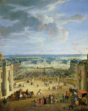 Perspective View from the Chateau of Versailles of the Place d'Armes and the Stables