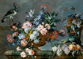 A Still Life of Fruit and Flowers with Birds