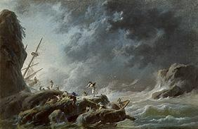 Sea storm with ship wreck