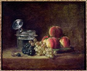 Still Life with a Basket of Peaches, White and Black Grapes, Cooler and Wineglass