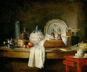 Chardin, Jean-Baptiste Sim�on : Quiet life with kitchens u...