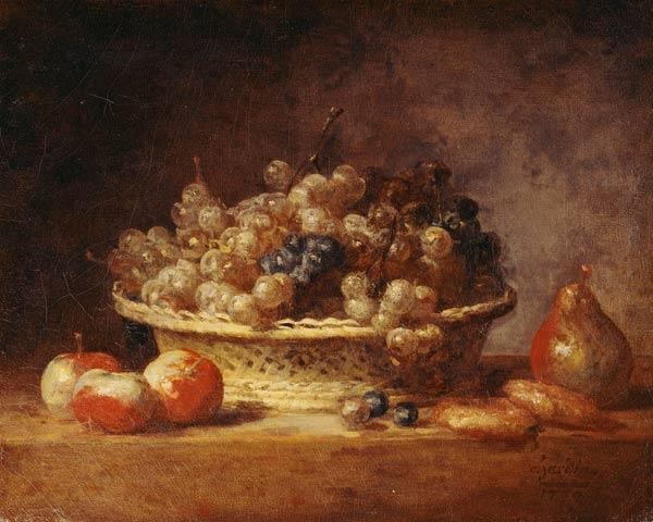 Basket of fruits and grapes