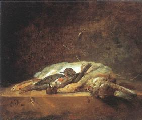 Chardin, Jean-Baptiste Sim�on : A rabbit and two dead thru...
