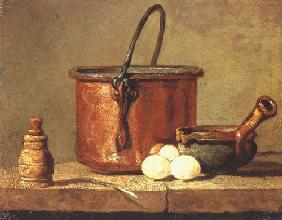 Still life with a pan, pepper pot, leek and three eggs