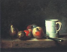 Chardin, Jean-Baptiste Sim�on : Still life with a cup, pea...