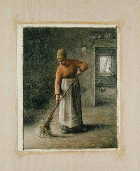 A Farmer's wife sweeping