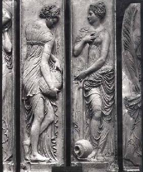 Detail of reliefs from the Fountain of the Innocents depicting nymphs personifying the rivers of Fra