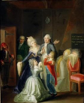 Farewell to Louis XVI his Family in the Temple, 20th January 1793