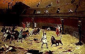 After the fight between slaves and wildcats in the Roman circus.