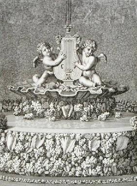 Two Cupids holding a lyre, a fountain at Versailles, 1677, from 'Les Plans, Profils et Elevations de