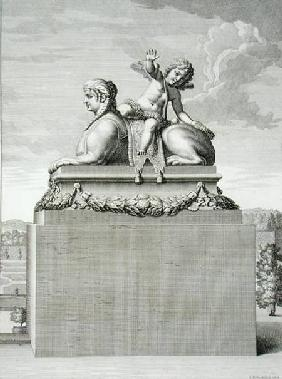 Figure of a sphinx in white marble, carrying a bronze Cupid, at Versailles, 1676, from 'Vues et Plan