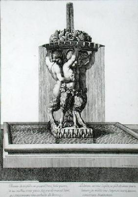 Three small satyrs holding a bowl of flowers, a fountain probably at Versailles, 1673, from 'Les Pla