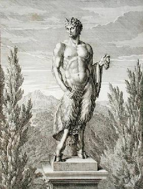 Statue of a Satyr holding a bunch of grapes, Versailles, 1672, from 'Vues et Plans de Versailles'