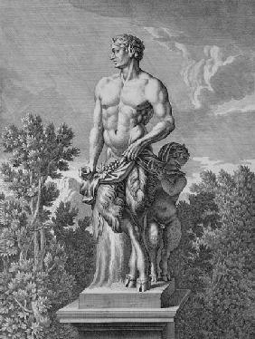 Statue of a Satyr at Versailles, 1675, from 'Vues et Plans de Versailles'