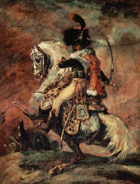 Cavalry officer, riding on a dapple-grey horse.