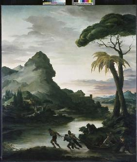 Heroic landscape with fishermen