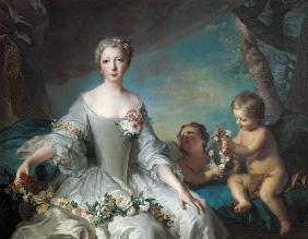 Portrait presumed to be Louise Diane d'Orleans (1716-36) as Flora