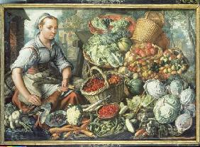 Fruit and vegetable still life with market woman.