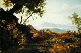 Italian Landscape (oil on canvas)