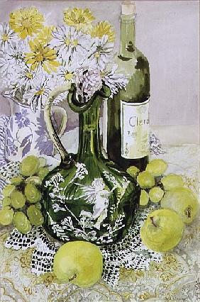 Carafe with Apples, Grapes and Lace (w/c)