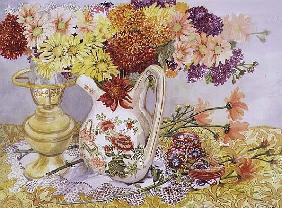 Chrysanthemums in a Chinese Jug (w/c)