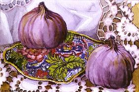 Figs on a Blue Plate (w/c on paper)