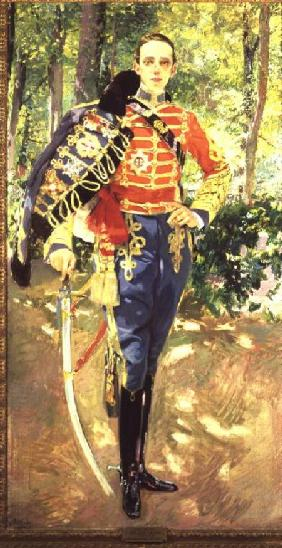 Portrait of Alfonso XIII Wearing the Uniform of the Hussars