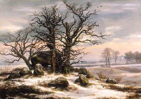 Dahl, Johan Christian Clausen : Megalithic grave in winter