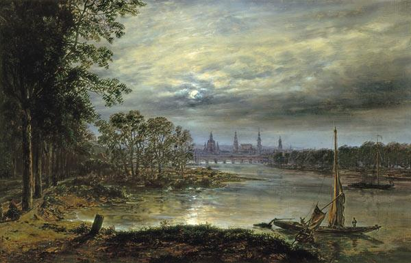 Dahl, Johan Christian Clausen : View of Dresden in moonlig...