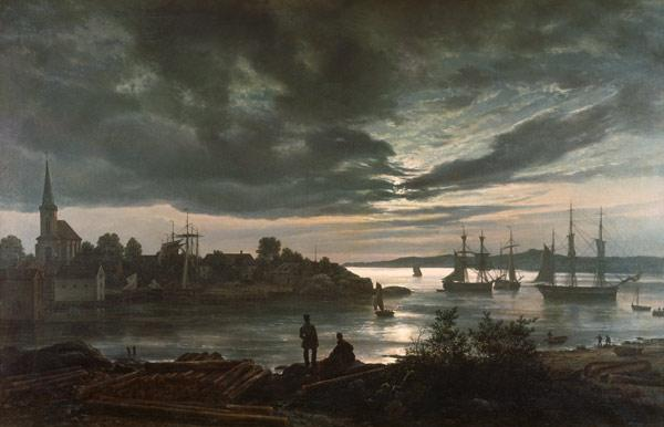 Dahl, Johan Christian Clausen : Larvik by Moonlight