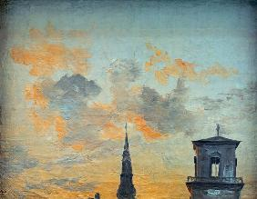 Two Towers in Copenhagen Against the Evening Sky