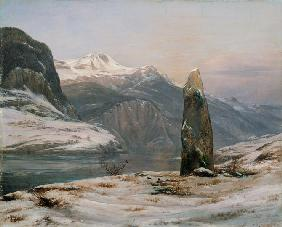 Dahl, Johan Christian Clausen : Winter at the Sognefjord