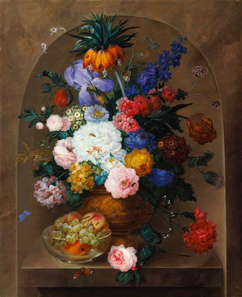 Still Life of Fruit and Flowers