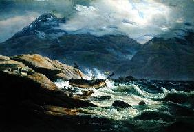Dahl, Johan Christian Clausen : Shipwreck on the Norwegian...