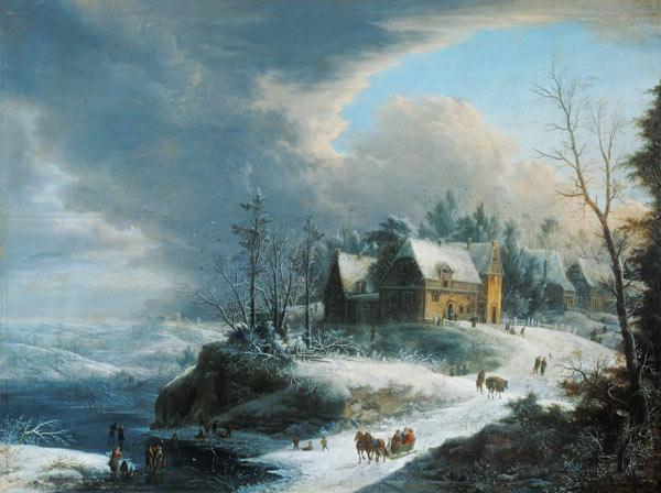 Winter landscape with a small village over a river having been cold.