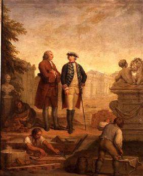 King Frederick II of Prussia (1712-86) and the Marquis of Argens (1704-1771) inspecting the construc