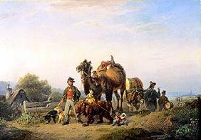 Itinerant people with camel, Äffchen and dancing bear
