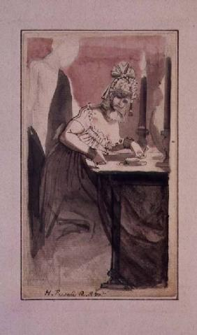 A Courtesan at her Dressing Table (pen & ink and watercolour on paper)