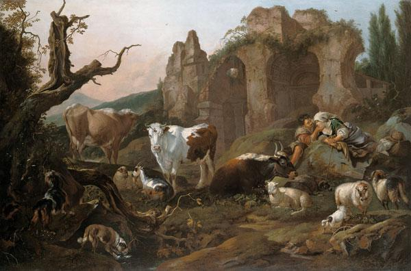 Farm animals in a landscape