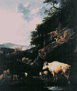 Landscape with shepherds and cattle.