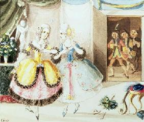 Fiordiligi and Dorabella watched from the doorway by Don Alfonso, Ferrando and Guglielmo, from 'Cosi
