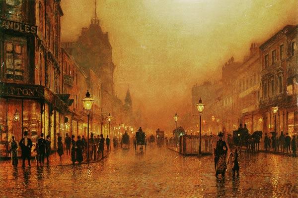 A Street at Night - John Atkinson Grimshaw as art print or ...