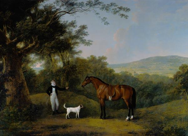 Portrait of a Boy, a Terrier and a Chestnut Pony