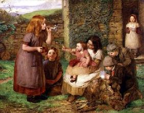 Bubbles: Cottage Scene with Children at Play