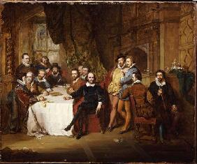 William Shakespeare and his friends in the inn Mermaid.