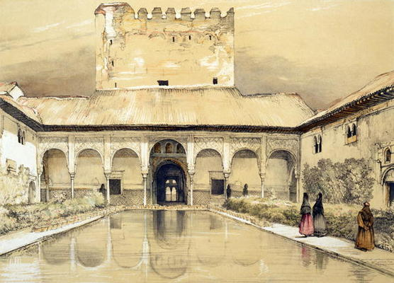Court of the Myrtles (Patio de los Array - John Frederick Lewis as art print ...