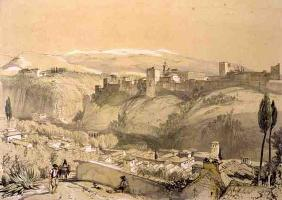 The Alhambra from the Albay, from 'Sketches and Drawings of the Alhambra', engraved by James Duffiel